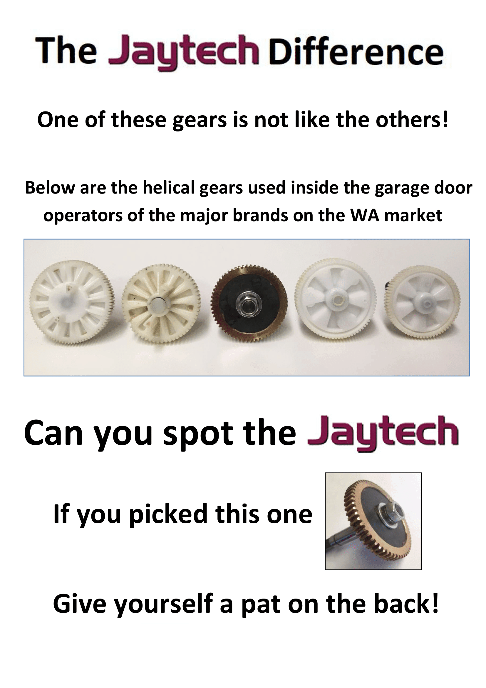 Jaytech garage door opener gear comparison